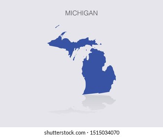 Michigan State Map Outline for infographics or news media for politics and elections in the United States of America. Democrat blue isolated vector illustration.