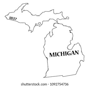 A Michigan state outline with the date of statehood isolated on a white background