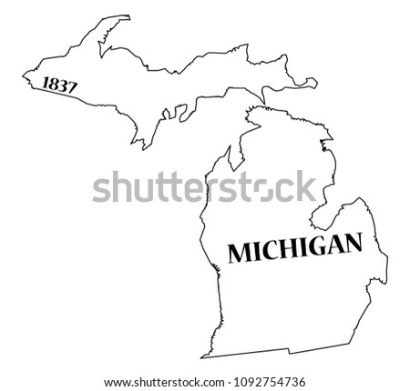 Michigan State Outline Date Statehood Isolated Stock Vector Royalty