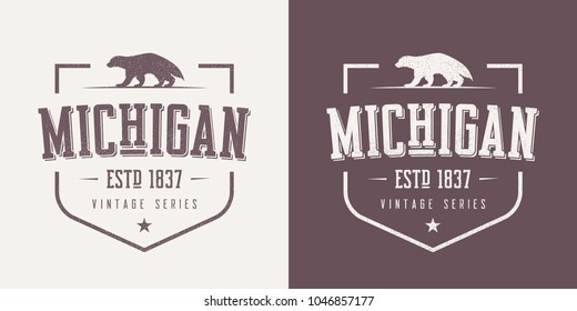 Michigan state textured vintage vector t-shirt and apparel design, typography, print, logo, poster. Global swatches.