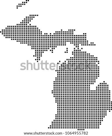 Michigan State Usa Map Dots Vector Stock Vector Royalty Free