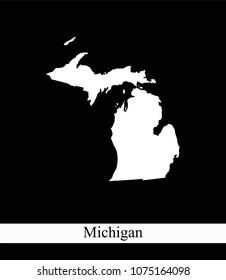 Michigan state of USA map vector outline illustration black and white abstract background. Highly detailed creative map of Michigan state of United States of America prepared by a map expert