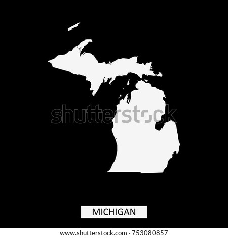 Michigan State Usa Map Vector Outline Stock Vector Royalty Free
