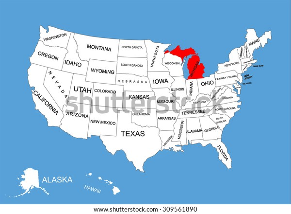 Michigan State Usa Vector Map Isolated Stock Vector (Royalty ...