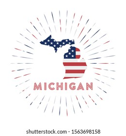 Michigan sunburst badge. The us state sign with map of Michigan with American flag. Colorful rays around the logo. Vector illustration.