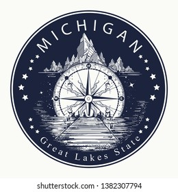 Michigan. Tattoo and t-shirt design. Welcome to Michigan (USA).  Great Lakes State slogan. Travel concept