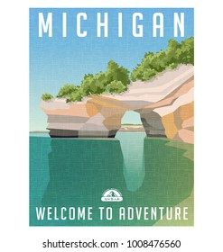 Michigan travel poster or sticker. Retro style vector illustration of sandstone cliffs on Lake Superior shoreline.
