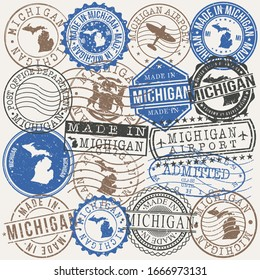 Michigan, USA Set of Stamps. Travel Passport Stamps. Made In Product. Design Seals in Old Style Insignia. Icon Clip Art Vector Collection.