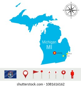 Michigan Vector Map Isolated on White Background. High Detailed Silhouette of Michigan State. Vector Flag of Michigan. 3D Map Markers or Pointers, Navigation Elements. Rose of Wind or Compass Icon