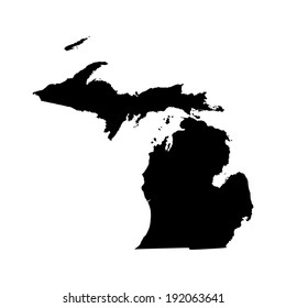 Michigan vector map silhouette isolated on white background. High detailed silhouette illustration. United state of America country.
