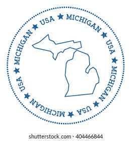 Michigan vector map sticker. Hipster and retro style badge with Michigan map. Minimalistic insignia with round dots border. USA state map vector illustration.