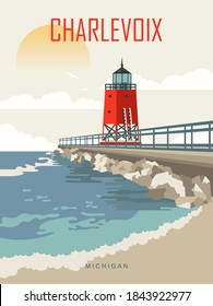 Michigan view on a vector travel poster with red Charlevoix