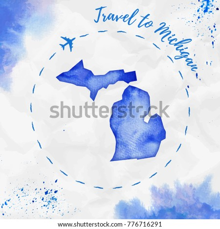 Michigan Watercolor Us State Map Blue Stock Vector (Royalty Free ...
