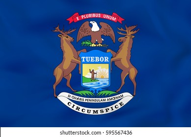 Michigan waving flag. Michigan state flag background texture.Vector illustration.