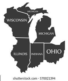 Michigan - Wisconsin - Illinois - Indiana - Ohio Map labelled black illustration