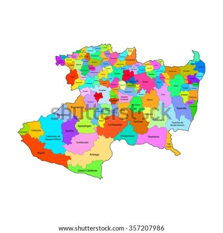 Michoacan Map Mexico City Stock Vector Royalty Free 357207986