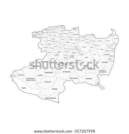 Michoacan Map Mexico City Stock Vector Royalty Free 357207998