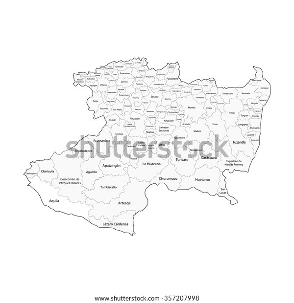 Michoacan Map Mexico City Stock Vector (Royalty Free) 357207998