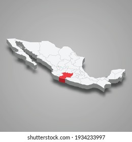Michoacan region location within Mexico 3d isometric map