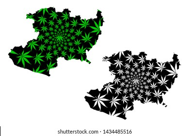 Michoacan (United Mexican States, Mexico, federal republic) map is designed cannabis leaf green and black, Free and Sovereign State of Michoacán de Ocampo map made of marijuana (marihuana,THC) foliage