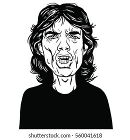 Mick Jagger Hand Drawn Portrait Vector Drawing Black and White. January 20, 2017