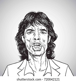 Mick Jagger Portrait Hand Drawn Drawing. Vector Illustration Caricature. September 22, 2017