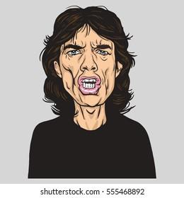Mick Jagger Vector Portrait Illustration Caricature. January 14, 2017