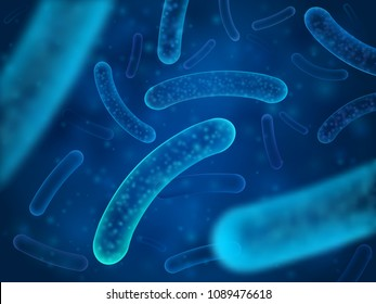 Micro bacterium and therapeutic bacteria organisms. Microscopic salmonella, lactobacillus or acidophilus organism. Abstract biological vector background