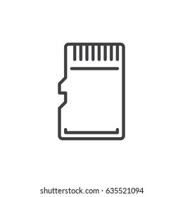 Micro SD Card line icon, outline vector sign, linear style pictogram isolated on white. Symbol, logo illustration. Editable stroke. Pixel perfect