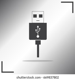 Micro USB cables icon isolated on background, Usb symbols,