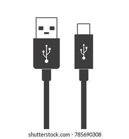 Micro USB cables simple flat icons Connectors and sockets for PC and mobile devices. USB type-A, USB type-c. Vector illustration