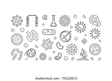 Microbe illustration or horizontal banner made with bacterias and microbes concept icons on white background