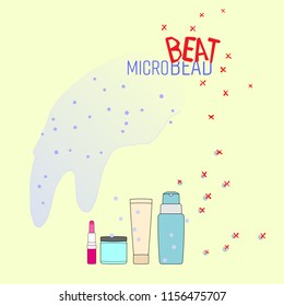 Microbead in personal care product outline flat symbol with typographic design. Beat microbead concept. Vector illustration.