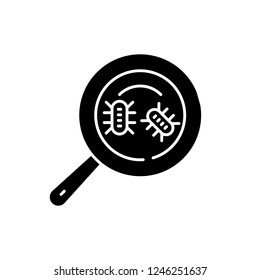 Microbial analysis black icon, vector sign on isolated background. Microbial analysis concept symbol, illustration
