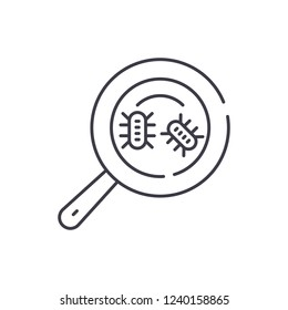 Microbial analysis line icon concept. Microbial analysis vector linear illustration, symbol, sign