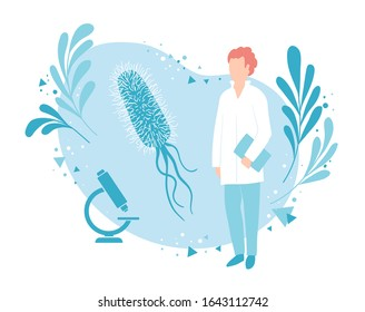 A microbiologist or bacteriologist examines the bacterium. Laboratory bacteriological analysis