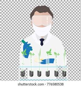 Microbiologist studying new virus and cultivating a petri dish, beside a microscope and tools of laboratory on transparent background. Vector illustration of biomedical engineering. - stock vector