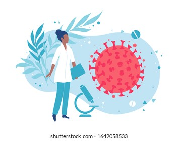 A microbiologist or virologist examines the virus. Laboratory bacteriological analysis