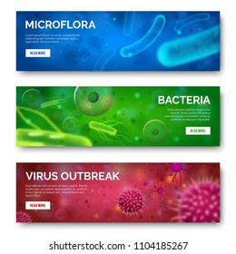 Microbiology 3d background. Viruses, infection microflora and bacteria for banners. Virus bacterium ebola cell science isolated green red blue banner set illustration
