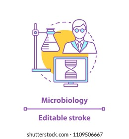 Microbiology concept icon. Science lab idea thin line illustration. Study of microorganism. Ring stand with flask, microbiologist, laboratory computer. Vector isolated outline drawing. Editable stroke