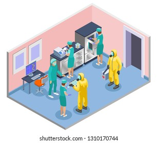 Microbiology isometric and colored composition with scientists in lab coats and medical masks vector illustration