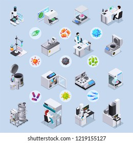 Microbiology isometric set of laboratory equipment for realization of scientific experiments and magnified bacteria and virus images under microscope isolated vector illustration