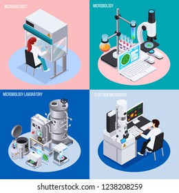 Microbiology laboratory 2x2 design concept set of objects for science experiments beakers and flasks isometric vector illustration