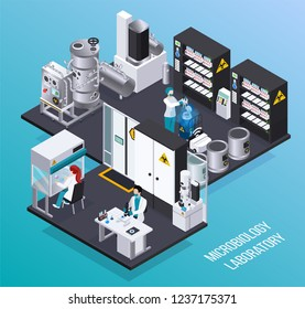 Microbiology laboratory isometric poster with scientists  in protective masks conducting science biochemical experiments vector illustration