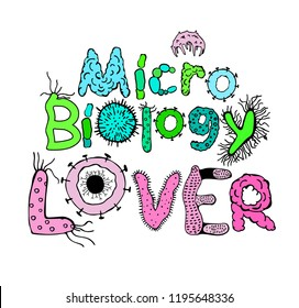 Microbiology Lover Poster. Creative heading in luminescent colors. Microbiological hand drawn lettering. Editable vector illustration on white background. Scientific, biological graphic design.