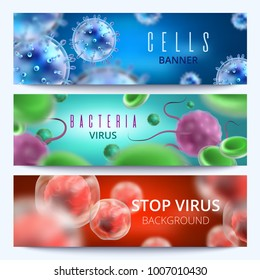 Microbiology and medical vector web banners with 3d bacteria and viruses. Virus and bacteria microbe medical illustration