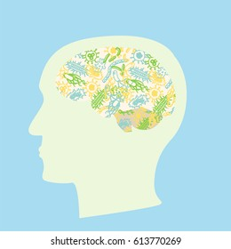 Microbiota brain concept. Stock vector illustration with bacteria forming human brain, gut flora influencing decision making.