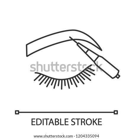 Microblading Eyebrows Linear Icon Thin Line Stock Vector Royalty