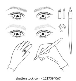 Microblading, microshading eyebrows. Woman's eyes and eyebrows. Tools. Vector set.