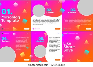 Microblog carousel slides template for social media with pink orange gradient, multi shape theme.